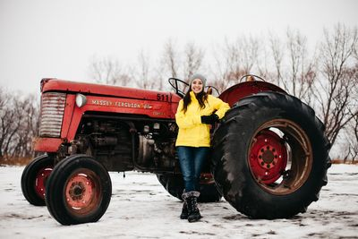 Colleen with tractor